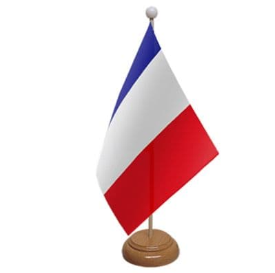 FRANCE - TABLE FLAG WITH WOODEN BASE