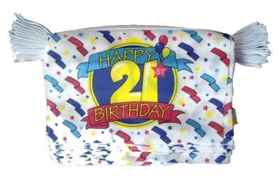 HAPPY 21ST BIRTHDAY BUNTING - 9 METRES 30 FLAGS