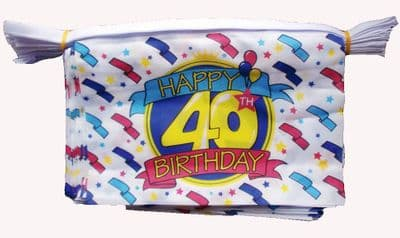 HAPPY 40TH BIRTHDAY BUNTING - 9 METRES 30 FLAGS