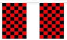 RED AND BLACK CHECKERED BUNTING - 3 METRES 10 FLAGS