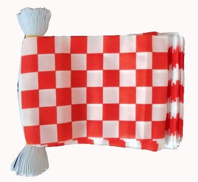RED & WHITE CHECKERED BUNTING - 9 METRES 30 FLAGS