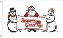 SEASONS GREETINGS SNOWMEN - 5X3 FLAG
