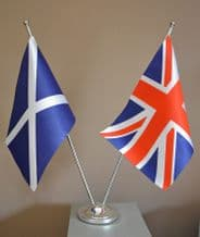 UNION JACK AND ST ANDREW - SATIN TABLE FLAG TWIN SET
