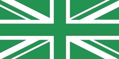 UNION JACK GREEN & WHITE - 5 X 3 FLAG