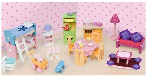 Le Toy Van Daisy Lane Wooden Dolls House Furniture - Deluxe Furniture Set ME039