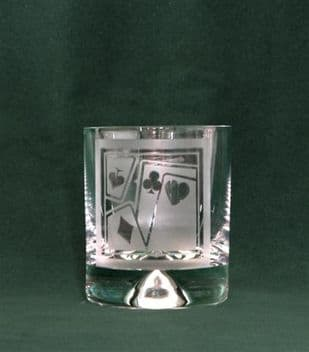 Set of four hand etched glasses