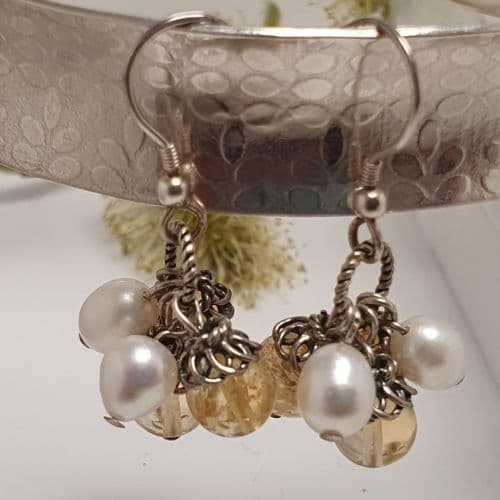 Citrine and Freshwater Pearl Heart Sterling Silver Earrings
