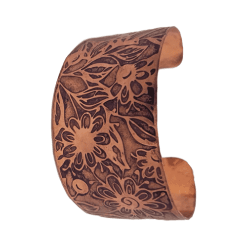 Etched Wide Copper Bangle 2