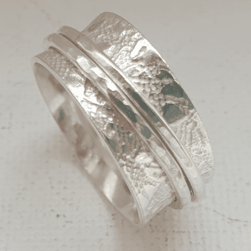 Sterling Silver 10mm Band Spinner Fidget Ring with 2 Bands