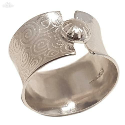 Size S Sterling silver wide button ring