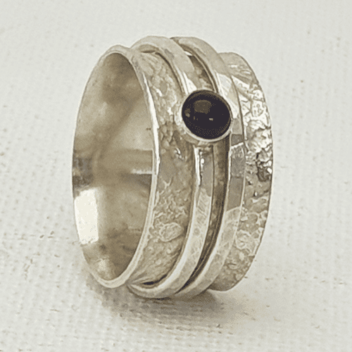 Sterling Silver Spinner Rings with Amethyst