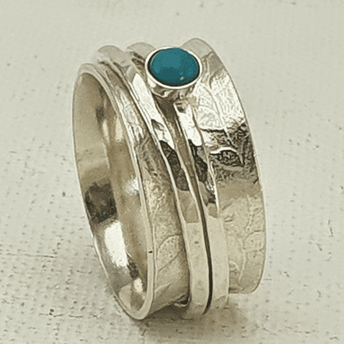 Boho Rings Sterling Silver Spinner Ring  with Turquoise