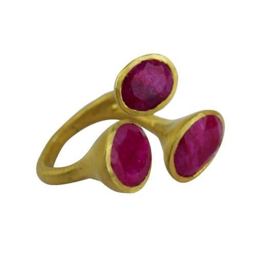3 Prong Ring - Matt Gold - Ruby