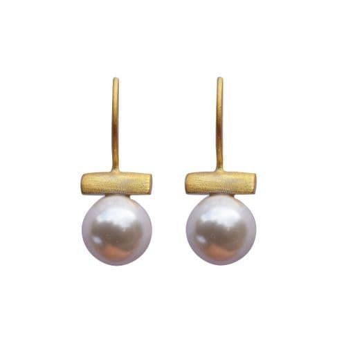 Ball & Bar Earrings - Matt Gold & Pearl