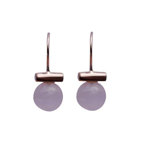 Ball & Bar Earrings - Rose Gold & Rose Quartz