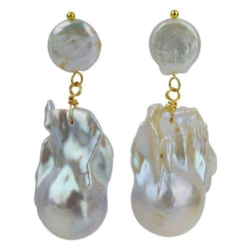 Baroque Pearl Gold Earrings - White Pearl