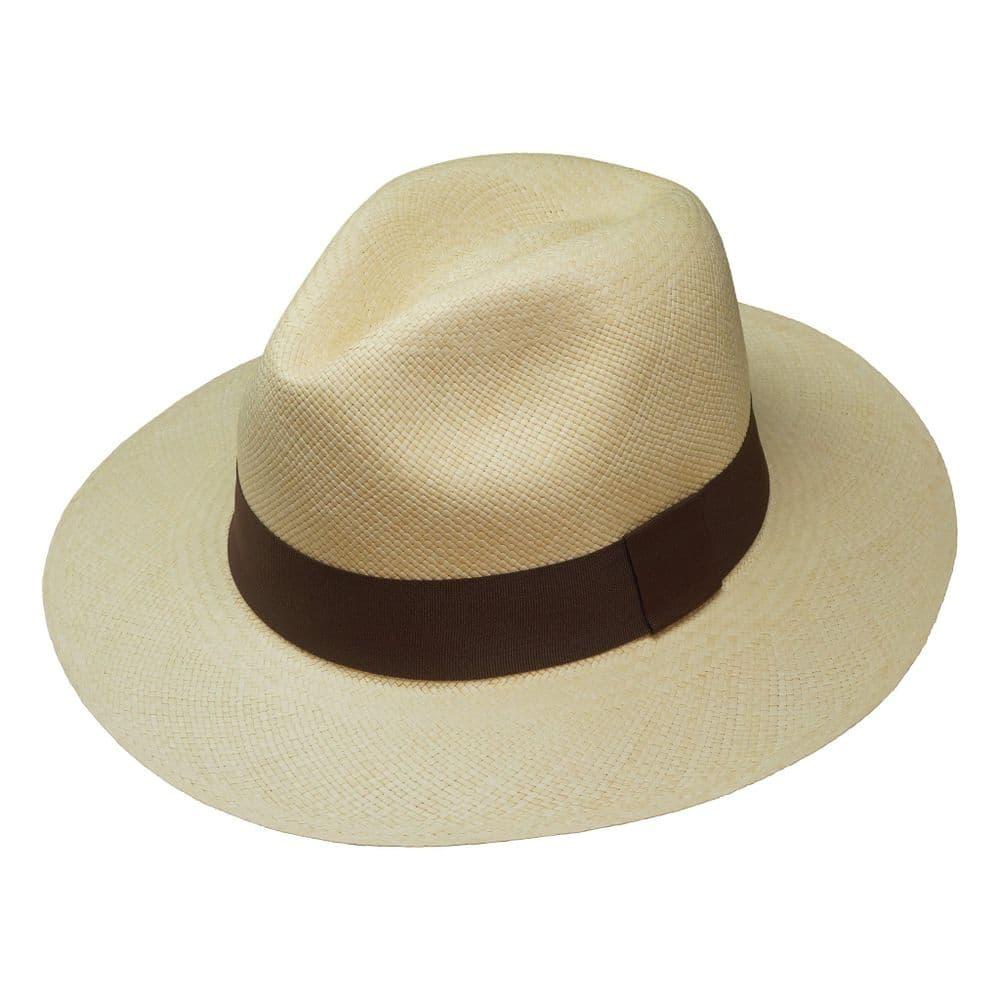 Fedora Panama Hat - Natural With Brown Ribbon