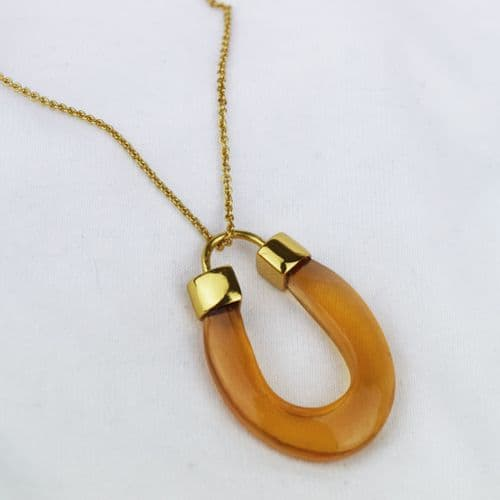 Glass Horseshoe Shape Necklace