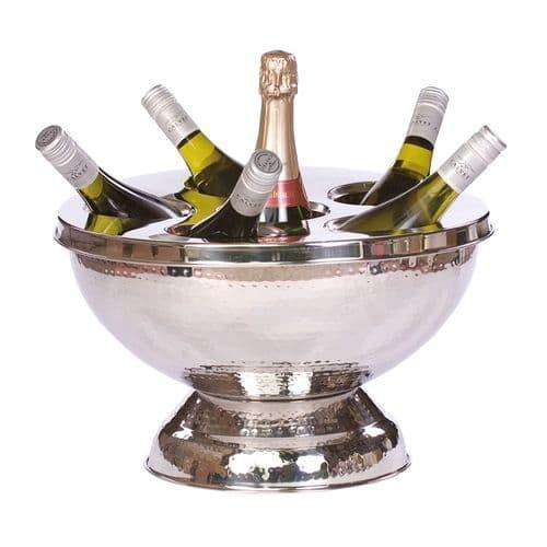 Hammered Large  Wine Cooler - 6 Bottles - Silver or Copper