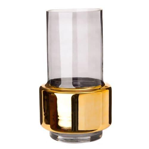 Hurricane Vase - Smoke & Gold