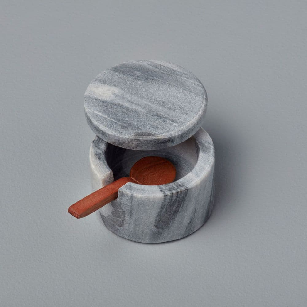 Marble Lidded Salt / Pepper Cellar With Wooden Spoon - 2 Colours