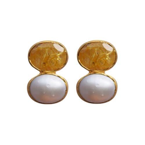 Matt Glold Duo Stone Earrings - Pearl & Quartz Rutilate