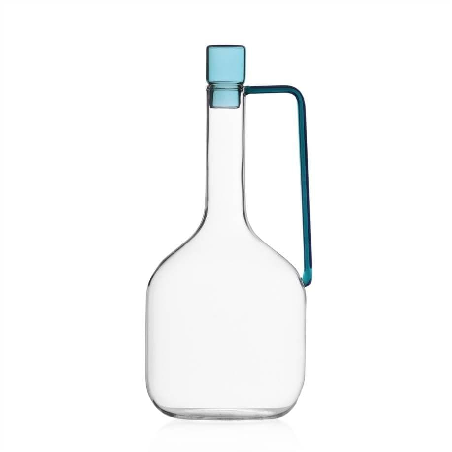 Milanese Glass - Minimalist Carafe With Lid - Petrol Blue
