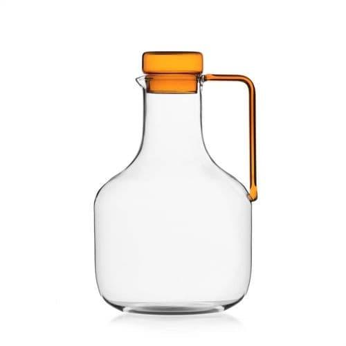 Milanese Glass - Minimalist Jug With Lid - Amber