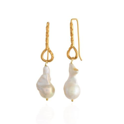Pear Shaped Baroque Pearl Earrings