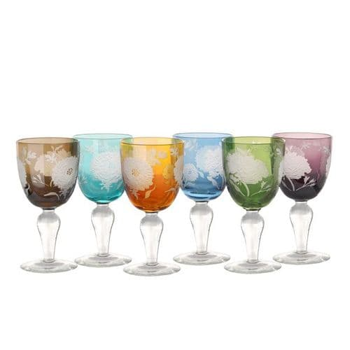 Peony Wine Glass Set of 6 - Assorted Colours