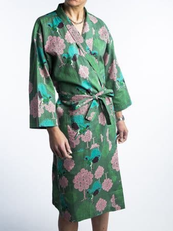 Printed Cotton Robe - Bird Green