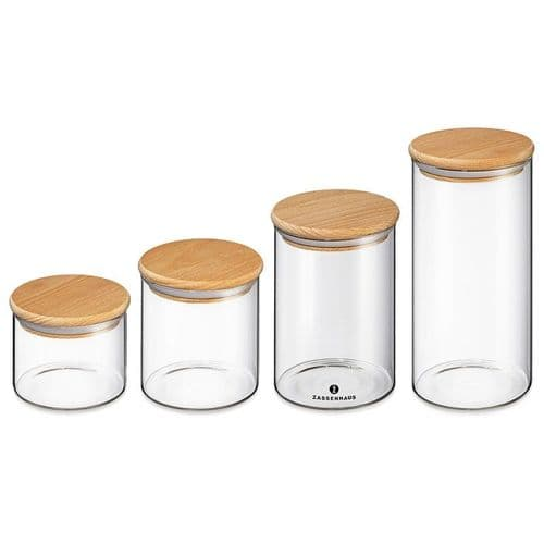 Storage Jar With Wooden Lid - 4 Sizes Available
