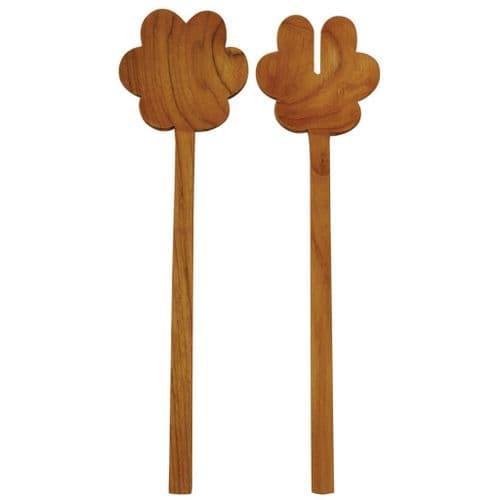 Teak Wood Flower Serving Set