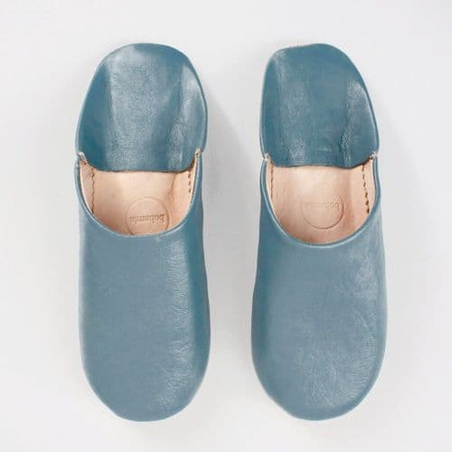 Women's Slippers - Leather Mules - Blue Grey