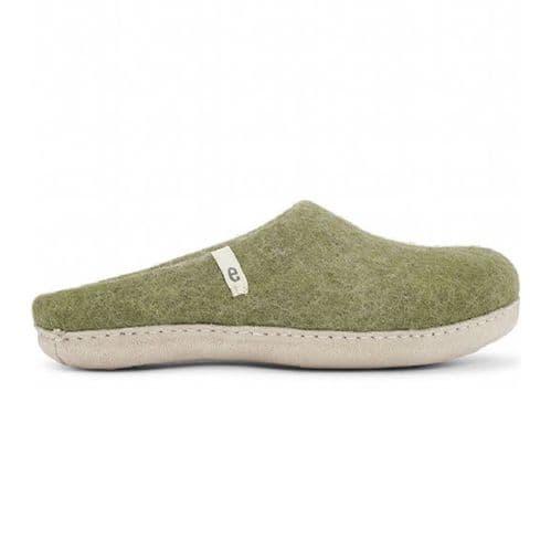 Women's Wool Slippers - Moss Green