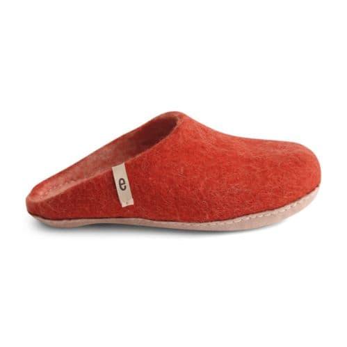 Women's Wool Slippers - Rusty Red