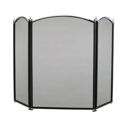 Dynasty 3 panel fire screen in black/chrome