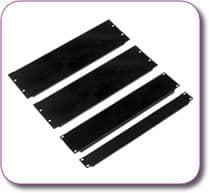 "1/2U 19"" Rack Mount Blank Panel Black Powder Coated Steel"