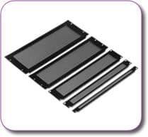 1/2U Rack Mount Vented Panel Black Powder Coated Steel