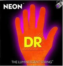 DR NEON NOB-45 Neon Orange Luminescent/Fluorescent Bass Guitar Strings 45-105