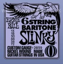 Ernie Ball 6 String BARITONE Slinky Nickel Wound Guitar Strings .013 - .072