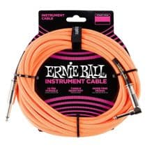 Ernie Ball Neon / Fluorescent Fabric Instrument Cable 10 ft - NEON ORANGE