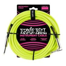Ernie Ball Neon / Fluorescent Fabric Instrument Cable 18 ft - NEON YELLOW