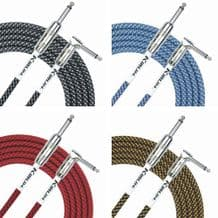Kirlin Fabric Guitar Lead Straight to Right Angle Plug Choice of Colour 3 metres