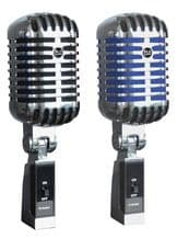 NJS Retro Style 'Elvis' Dynamic Microphone Chrome with Choice of  BLACK or BLUE