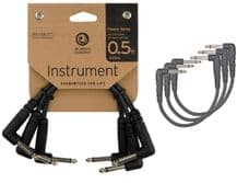 "Planet Waves 6"" Instrument Patch Cables / Leads Right Angle Plugs - Pack of 3"