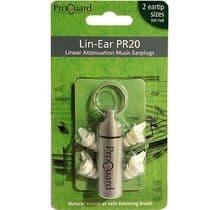 Proguard Lin-Ear PR20 linear attenuation music earplugs - musicians ear plugs